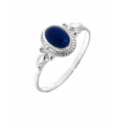 Bague Argent 925 Lapis Lazuli Pierre Ovale 7x5mm Ref 32063