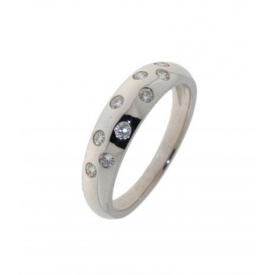 Bague Or Blanc Diamant Quinconce (0.28ct)