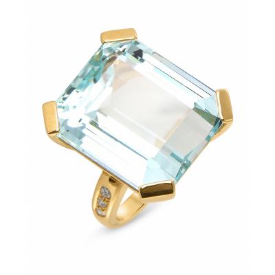 Bague Or  Jaune Aigue Marine RPC 20x17mm et Diamant