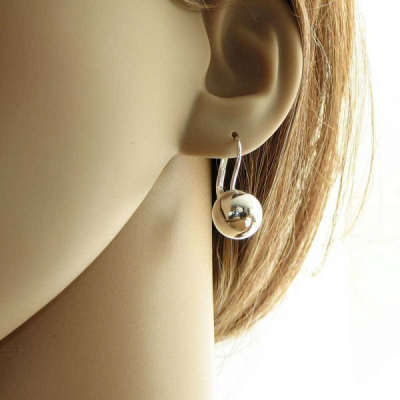 boucles d 39 oreilles argent pendantes boules 12mm ref 33510. Black Bedroom Furniture Sets. Home Design Ideas
