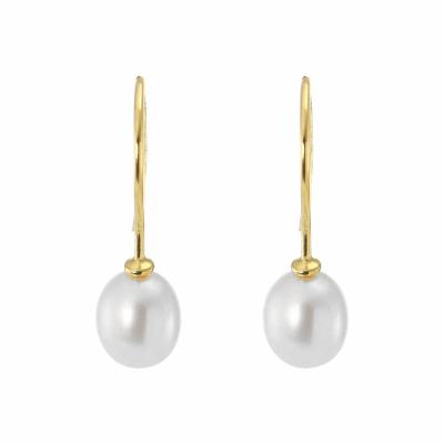 boucles d 39 oreilles pendantes or et perle ref 20829. Black Bedroom Furniture Sets. Home Design Ideas