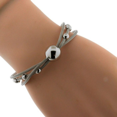 bracelet argent maille triple et boule ref 38644. Black Bedroom Furniture Sets. Home Design Ideas