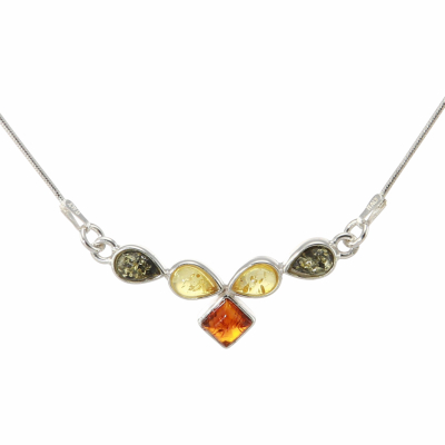 Collier Argent  Ambre Multicolore