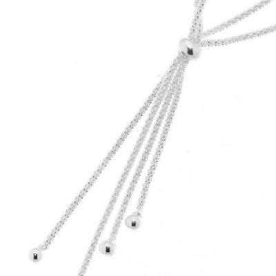 Collier Argent  Maille texturée et Boules