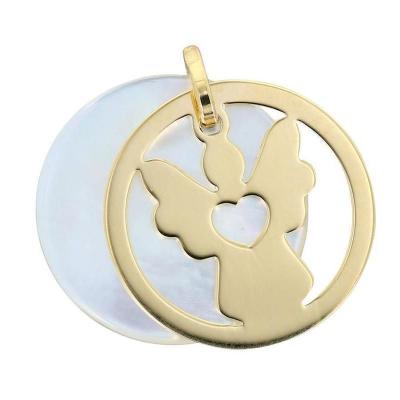 Médaille Ange en Or Jaune 750  sur nacre