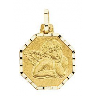 Médaille Ange Octogonale en Or Jaune 750
