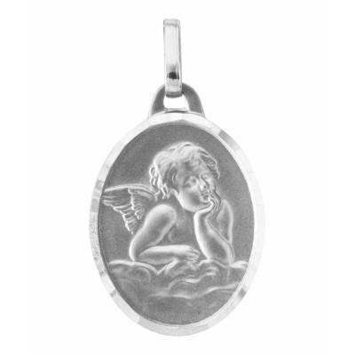 Médaille Ange Ovale en Or Blanc 750 (17x13mm)