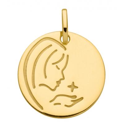 Médaille Moderne Vierge de Profil Or Jaune 750