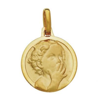 Médaille Or  Jaune 750 Enfant au Baiser 16mm