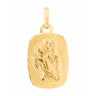 Médaille Saint Christophe Rectangulaire Or Jaune 750