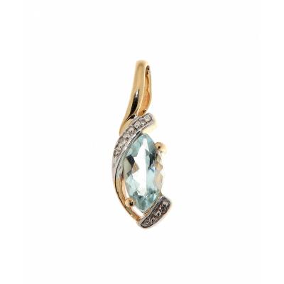 Pendentif Aigue Marine Marquise 8x4mm et Diamant Or Jaune 375