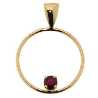 Pendentif Cercle Or Jaune Rubis Rond 4.1mm