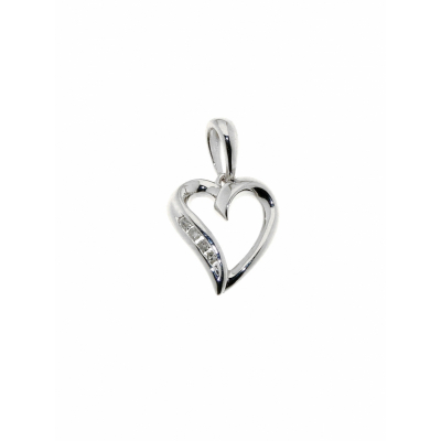 Pendentif Coeur Or Blanc Diamant  0.026  carat