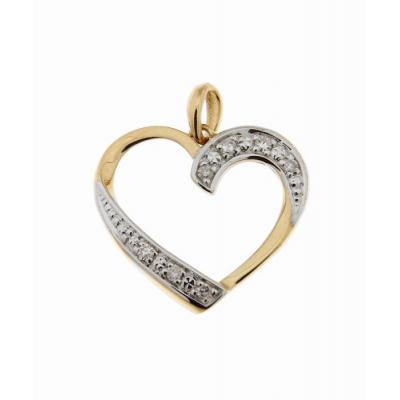 3823ddad6c0 Pendentif Coeur Or Jaune 750 Diamant 0.04 carat Ref. 39813