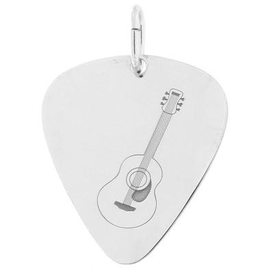 Argent massif 925 Instrument de musique Bijou cadeau musique Pendentif Guitare Classique