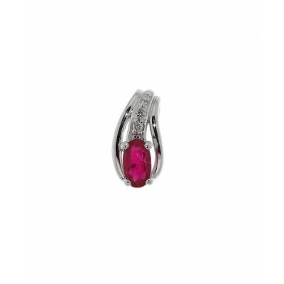 Pendentif Or Blanc 375 Rubis Ovale 5x3mm et Diamant