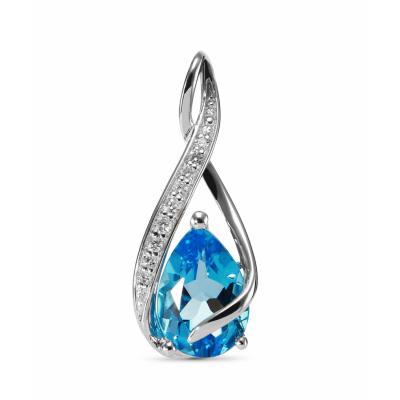 Pendentif Or Blanc 375 Topaze Bleue Poire 10x8mm et Diamant