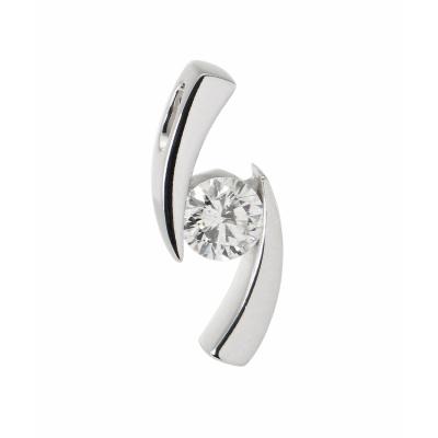 Pendentif Or Blanc Diamant  0.53 carat