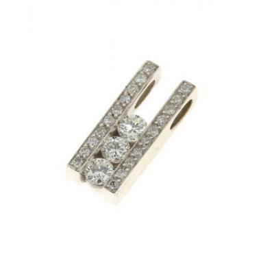 Pendentif Or Blanc Diamant