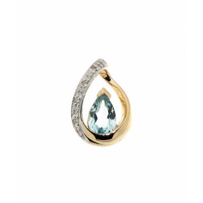Pendentif  Or Jaune 375   Topaze bleue traitée Poire 6x4mm et Diamant