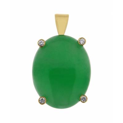 Pendentif Or Jaune Jade Ovale 18x15mm et Diamant
