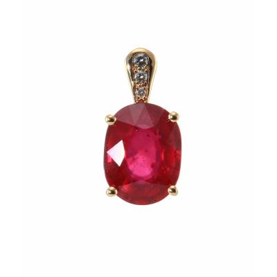Pendentif Or Rubis Traité Ovale 10x8mm et Diamant