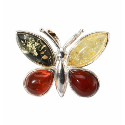 Pendentif Papillon Argent et Ambre