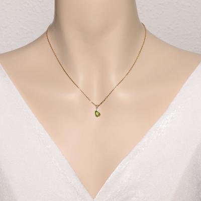Pendentif Péridot Ovale 7x5mm Or Jaune  et Diamant