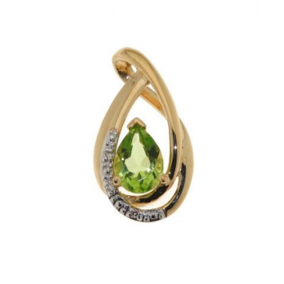 Pendentif Péridot Poire 7x5mm Or Jaune et Diamants