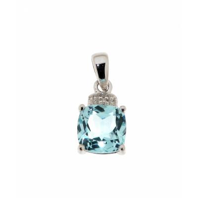 Pendentif Topaze bleue traitée Coussin 7mm et Diamant Or Blanc 375