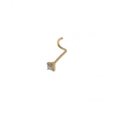 Piercing Nez Or Jaune et Diamant 2mm