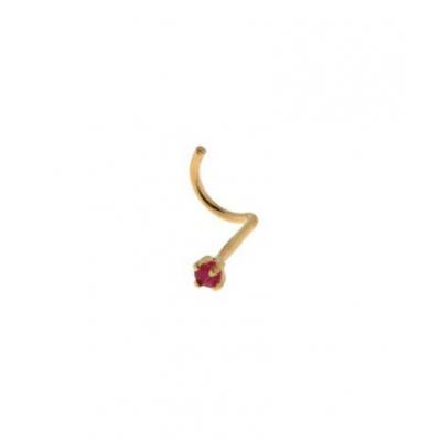 Piercing nez Or  Jaune et Rubis 2mm