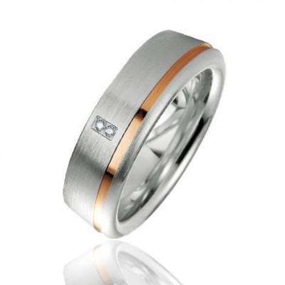 Alliance Argent Platiné et Diamant 6.5mm
