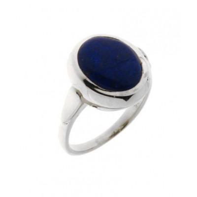 Bague argent 925 et lapis lazuli facetté 18x12 mm