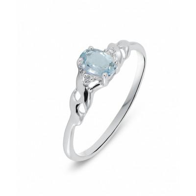 Favori Bague Or Blanc 375 Aigue Marine Ovale 6x4mm et Diamant Ref. 34860 GJ55