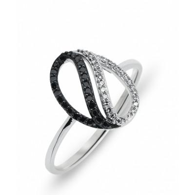 bague or diamant blanc et noir