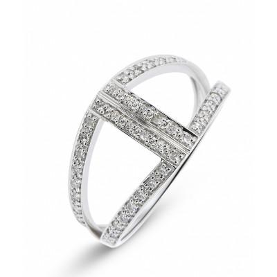 1441362b52985 Bague Or Blanc 750 Diamant Pavage Ref. 39264