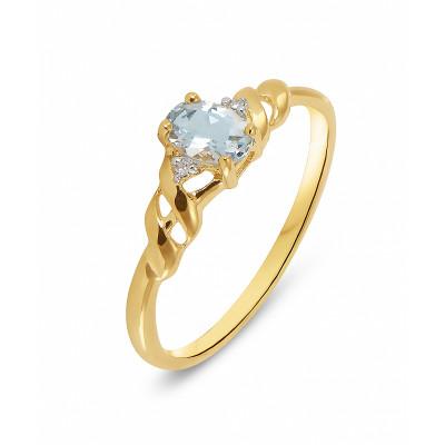 Bague Or Jaune 375 Aigue Marine Ovale 6x4mm et Diamant