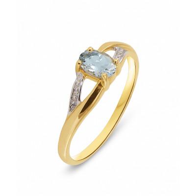 Bague Or Jaune 375 Aigue Marine Ovale et Diamant