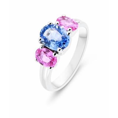 Belle Bague Trilogie Or Blanc 750 Saphir Bleu et Saphir rose Ref. 46547 QP-31
