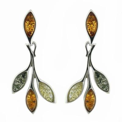Boucles d'oreilles Ambre Multicolore et Argent 925
