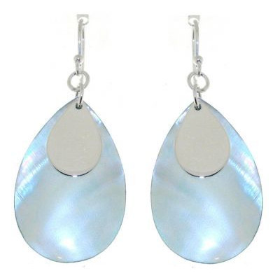 Boucles d oreilles Argent Nacre Bleue Pendantes Ref. 28091 1eea8f6f7bf1