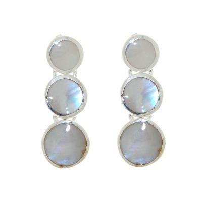 Boucles d oreilles pendantes Argent et Nacre blanche Ref. 23933 05388b06fc28