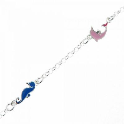 Bracelet Argent  Enfant Emaillé Ancre Dauphin Hippocampe