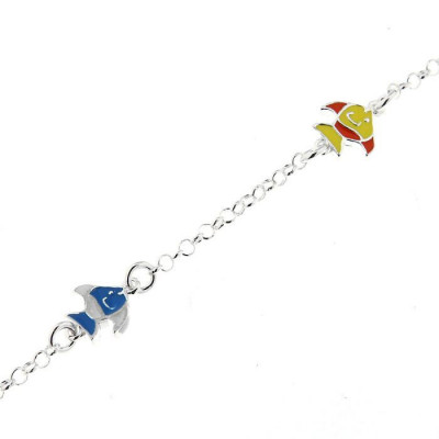 Bracelet Argent  Enfant Poissons Emaillés