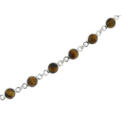 Bracelet Argent Oeil de Tigre pierres de 6mm x 20cm