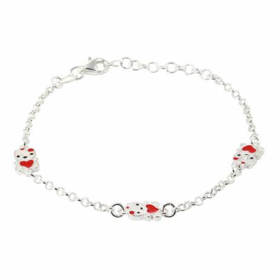 Bracelet Enfant Argent  Chat et Coeur Emaillés