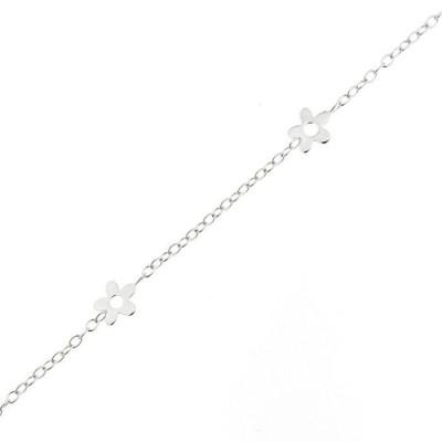 Bracelet Enfant Or Blanc 375 Motifs Fleurs