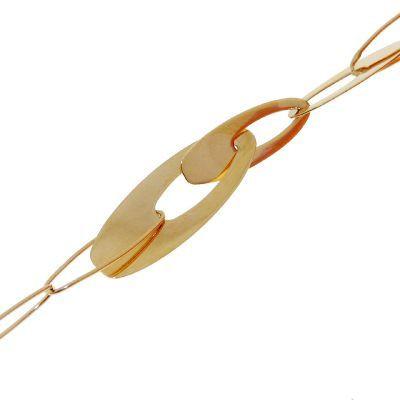 Bracelet fantaisie maille plate ajourée en Or Jaune