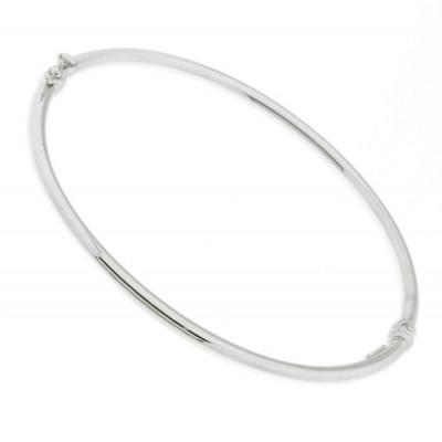 Bracelet Jonc Or Blanc 375 Fil Rond 3mm